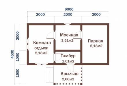 Проект Бани из СИП панелей  3х6