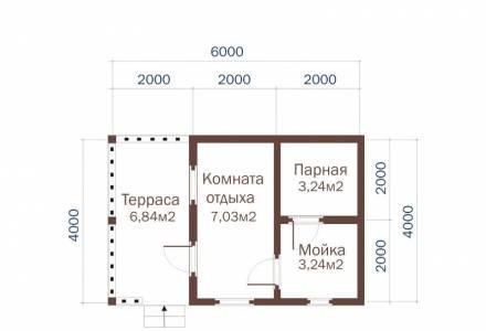 Проект Бани из СИП панелей 4х6