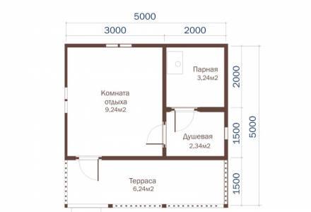 Проект Бани из СИП панелей 5х5