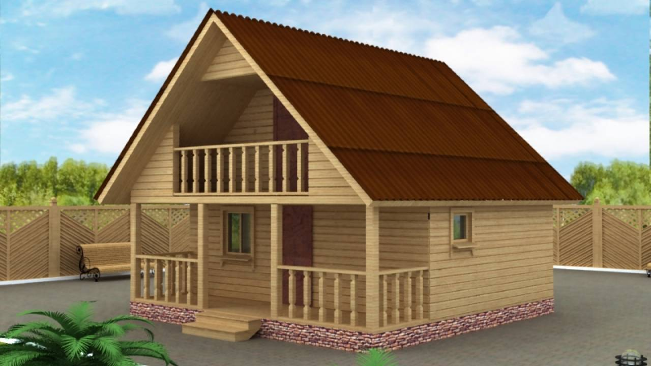 Проект бани из бруса 6х6 с балконом вологодская область.