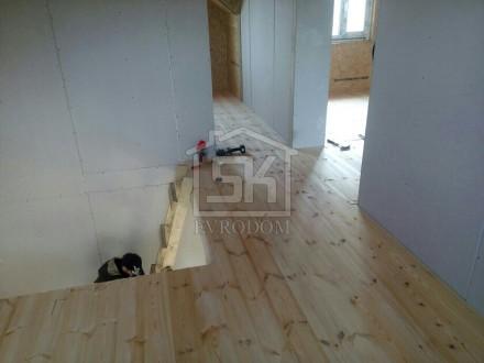 Внутренняя отделка дома: стены ГКЛ, пол шпунт 36 мм